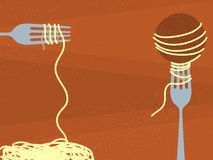 Spaghetti and Meatballs. Illustration of Spaghetti and Meatballs spinning on forks Royalty Free Stock Photo