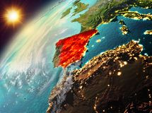 Spain on planet Earth in sunset Royalty Free Stock Photography