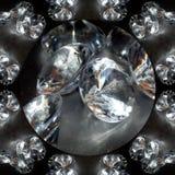 Illustration of a sparkling background of diamonds on a black background. Close-up Stock Photo