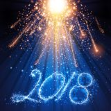 Year 2018 fireworks and lights. An illustration of sparkling number 2018 and fireworks for the new year celebration Royalty Free Stock Photos