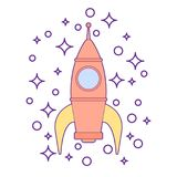 Illustration of a sparkling rocket ship space vehicle blasting off into the sky. Kids toy for boys isolated. A sparkling rocket ship space vehicle blasting off Royalty Free Stock Image