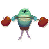 Illustration of sparrow. Bench press exercise. Stock Photography