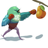 Illustration of sparrow. Boxing. Royalty Free Stock Images