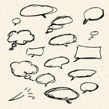 Illustration of speech bubbles on a sheet of lined paper Royalty Free Stock Images