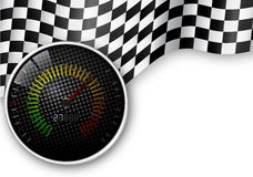 Speed Meter and Checkered Flag Background Stock Image
