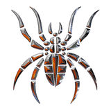 Illustration of a spider. Realized in chrome Royalty Free Stock Photography
