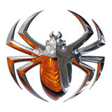Illustration of a spider. Realized in chrome Royalty Free Stock Images