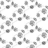 Illustration of a spiral with butterflies. Seamless pattern. Stock Photo