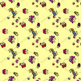 Illustration of a spiral with butterflies. Seamless pattern. Stock Photography
