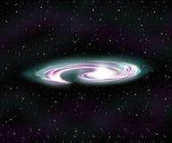 Spiral Galaxy and Nebula stock photo