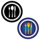 Illustration of spoon, fork, knife and plate Stock Photography