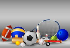 Sport equipment with background white and grey colour royalty free illustration