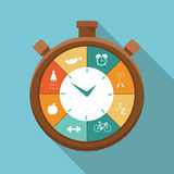 Illustration of sport regime stopwatch in flat designed Royalty Free Stock Image