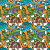 Illustration of Sport shoes seamless pattern, wrapping paper Royalty Free Stock Photo