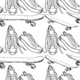 Illustration of Sport shoes with  skateboard seamless pattern Stock Photos