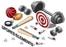 Illustration Sportausrüstungskonzeptes der Informationen des grafischen Stockfotos