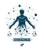 Illustration sportive de vecteur d'homme faite utilisant moléculaire futuriste illustration libre de droits