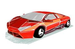Illustration of sports car on white. Illustration of red sports car that drawn with a dry-brush on a white background vector illustration