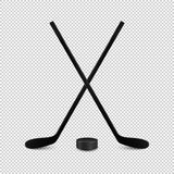 Illustration of sports set - two realistic crossed hockey sticks and puck. Design templates in vector. Closeup isolated vector illustration