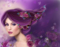 Illustration Spring  beautiful Fantasy woman with purple hairstyle and flowers Royalty Free Stock Images