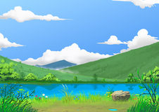 Illustration: Spring: The Beautiful River Side by the Mountain with Green Fresh Grass and Flowers, after Raining. Story with Fantastic Cartoon Style Scene Stock Photo