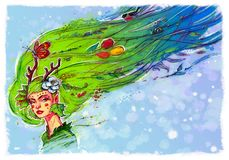 Illustration of a spring girl. Change of seasons. The girl is an elf, the spirit of the forest and spring. Image is isolated on stock illustration