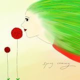 Illustration of spring girl Royalty Free Stock Photos