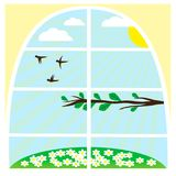 Illustration with spring landscape Royalty Free Stock Photo
