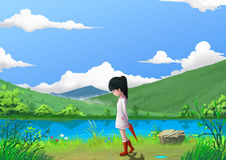 Illustration: Spring: The Little Girl by the Beautiful Mountain's River Side with Green Grass and Little Flowers. Story with Fantastic Cartoon Style Scene Stock Photo