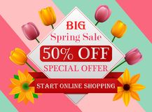 Spring sale background banner with beautiful colorful flower stock illustration