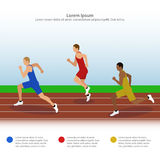 Illustration of sprinters on the running track Stock Photos