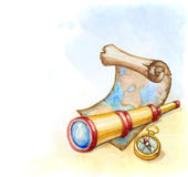 Illustration of spyglass Stock Photo