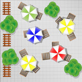 Illustration of square with chairs and parasols Stock Image