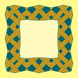 Illustration of a square frame from abstract element. On yellow background Stock Photo