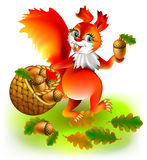 Illustration of squirrel collecting acorns. stock illustration