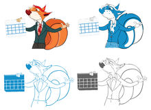 Illustration of a Squirrel Teacher. Cartoon Character Stock Photo