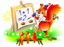 Illustration of squirrels learning count numbers. Royalty Free Stock Image
