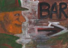 Man goes to bar. Bar or pub sign. Abstract painting. royalty free stock photos
