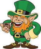 Illustration of St. Patrick's Day leprechaun. Smoking a pipe Royalty Free Stock Image
