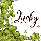 Illustration of St. Patrick`s day. Lucky poster.Vector background. Sweet lettering for card Stock Photos
