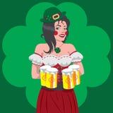Illustration of St. Patricks Day Irish girl serving beer vector illustration