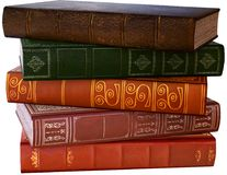 Stack of Old Reading Books, Isolated, Illustration. Illustration of a stack of old reading books. The vintage tomes are isolated on white. PNG file available Stock Image