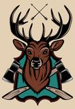 Illustration of a stag's head as a trophy Stock Image