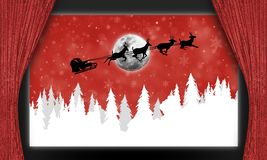 Santa Claus sledge over fir trees. An illustration of a stage with open curtains and a Santa Claus sledge with reindeers flying over white fir trees Stock Photography