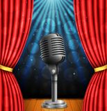 Stage with red curtians, microphone and spotlight. vector illustration
