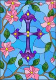 Illustration in Stained glass stile with a  purple Christian cross in the sky and pink flowers. Stained glass illustration with a  purple Christian cross in the Royalty Free Stock Photography