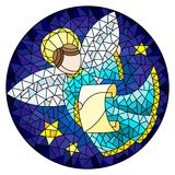 Stained glass illustration with an abstract angel in blue robe , round picture. Illustration in stained glass style with an abstract angel in blue robe , round stock illustration