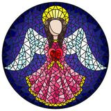 Stained glass illustration with an abstract angel in pink robe with a heart , round picture. Illustration in stained glass style with an abstract angel in pink vector illustration