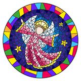 Stained glass illustration with an abstract angel in pink robe  , round picture frame in bright. Illustration in stained glass style with an abstract angel in Stock Image