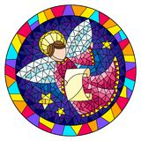 Stained glass illustration with an abstract angel in pink robe  , round picture frame in bright. Illustration in stained glass style with an abstract angel in Stock Photos